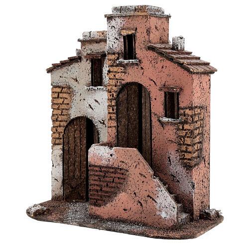 Casas em miniatura de cortiça cenário para presépio de Natal com figuras de altura média 10 cm, 26,5x25x15 cm 2