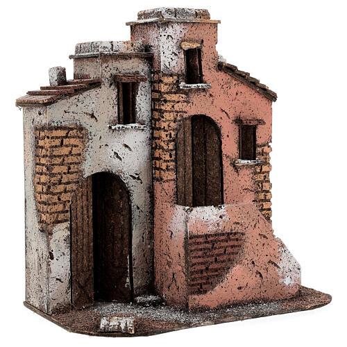 Casas em miniatura de cortiça cenário para presépio de Natal com figuras de altura média 10 cm, 26,5x25x15 cm 3