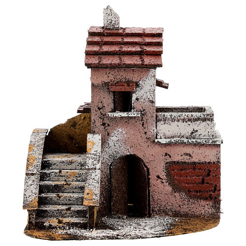 Maison liège crèche napolitaine balcon 15x15x10 cm pour santons 4 cm 1