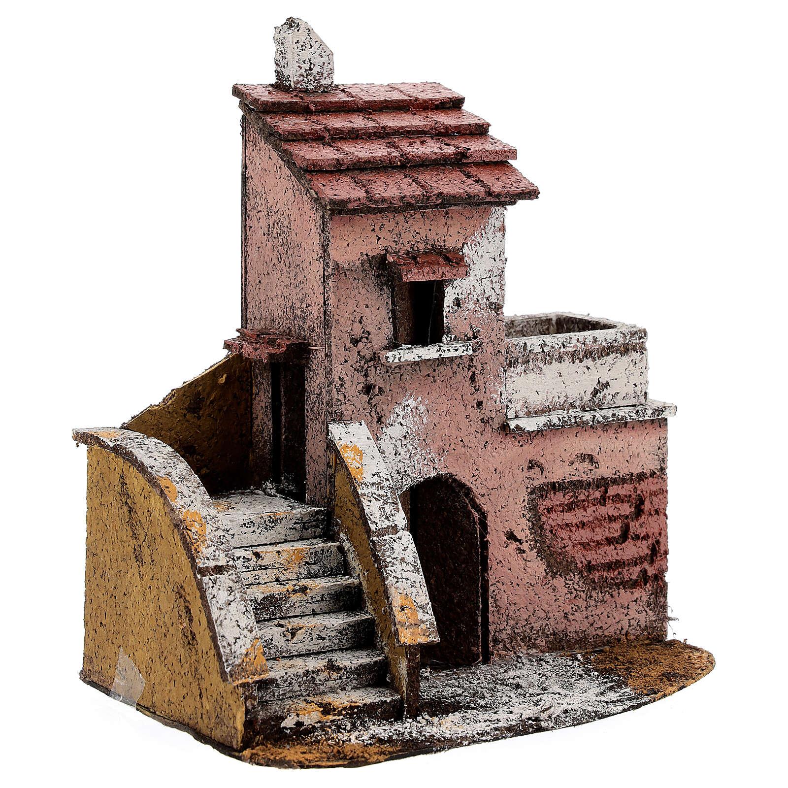 Casa sughero presepe napoletano terrazzo 15x15x10 per statue 4 cm 4