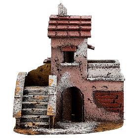 Casa de cortiça com varanda para presépio napolitano com figuras altura média 4 cm, medidas: 16,5x14,5x10,5 cm s1