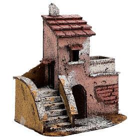 Casa de cortiça com varanda para presépio napolitano com figuras altura média 4 cm, medidas: 16,5x14,5x10,5 cm s2