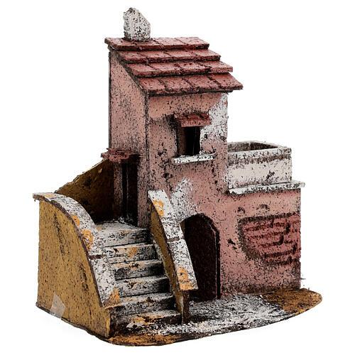 Casa de cortiça com varanda para presépio napolitano com figuras altura média 4 cm, medidas: 16,5x14,5x10,5 cm 2