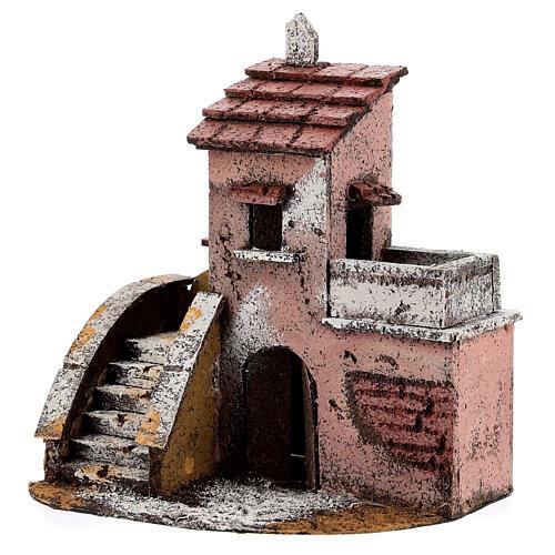 Casa de cortiça com varanda para presépio napolitano com figuras altura média 4 cm, medidas: 16,5x14,5x10,5 cm 3