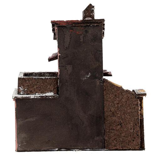 Casa de cortiça com varanda para presépio napolitano com figuras altura média 4 cm, medidas: 16,5x14,5x10,5 cm 4
