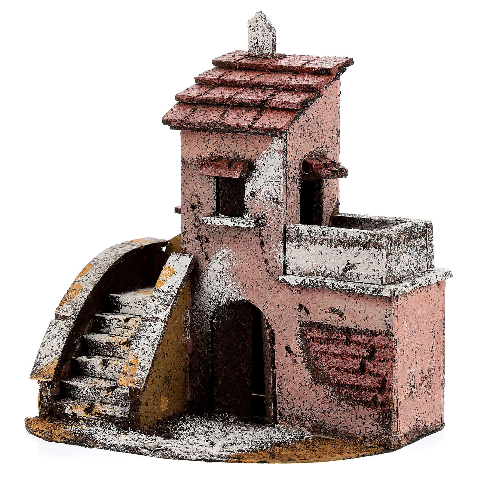 Cork house with balcony Neapolitan Nativity Scene 15x15x10 cm for 4 cm figurines 4