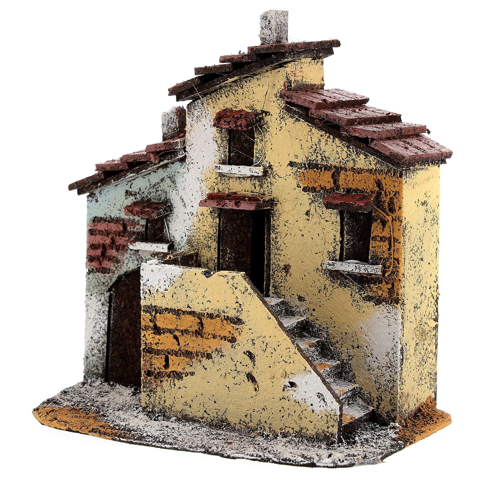 Case adiacenti sughero presepe napoletano 15x15x10 cm per statue 3 cm 4