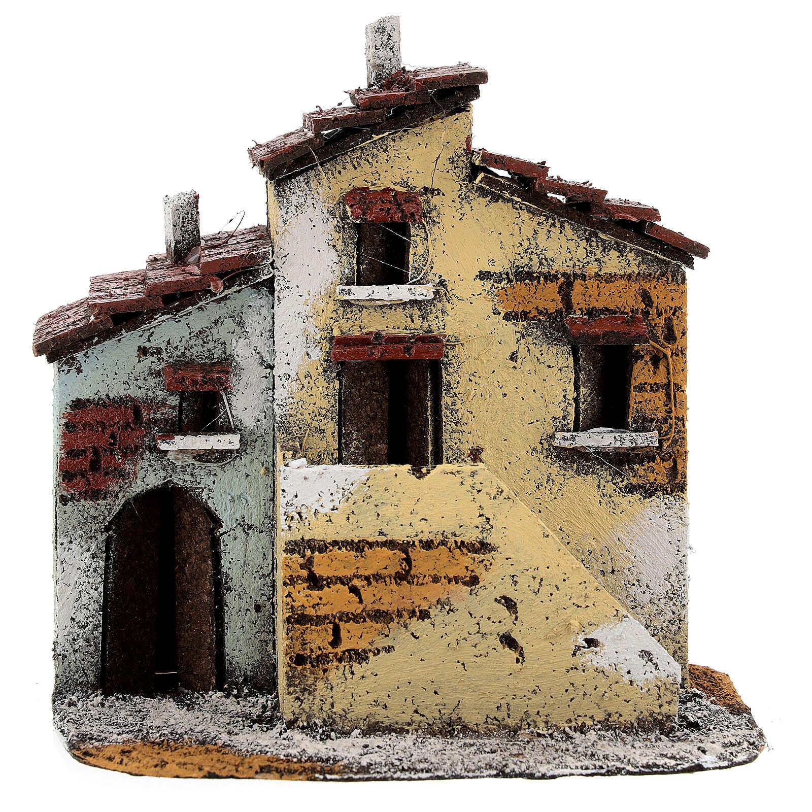 Casas adjacentes de cortiça para presépio napolitano com figuras altura média 3 cm, medidas: 15,5x15,5x10 cm 4