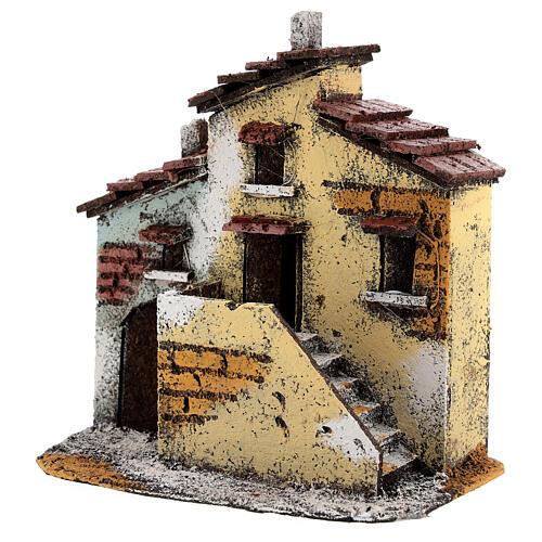 Casas adjacentes de cortiça para presépio napolitano com figuras altura média 3 cm, medidas: 15,5x15,5x10 cm 2