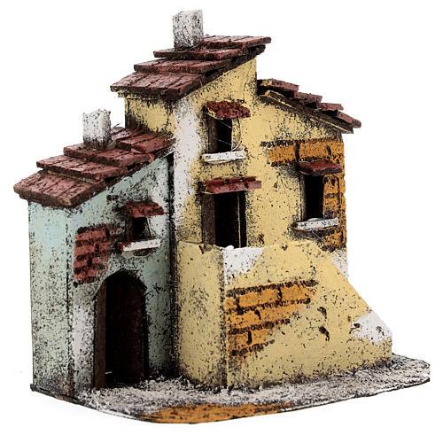Cork adjacent houses Neapolitan Nativity Scene for 3 cm figurines 15x15x10 cm 3