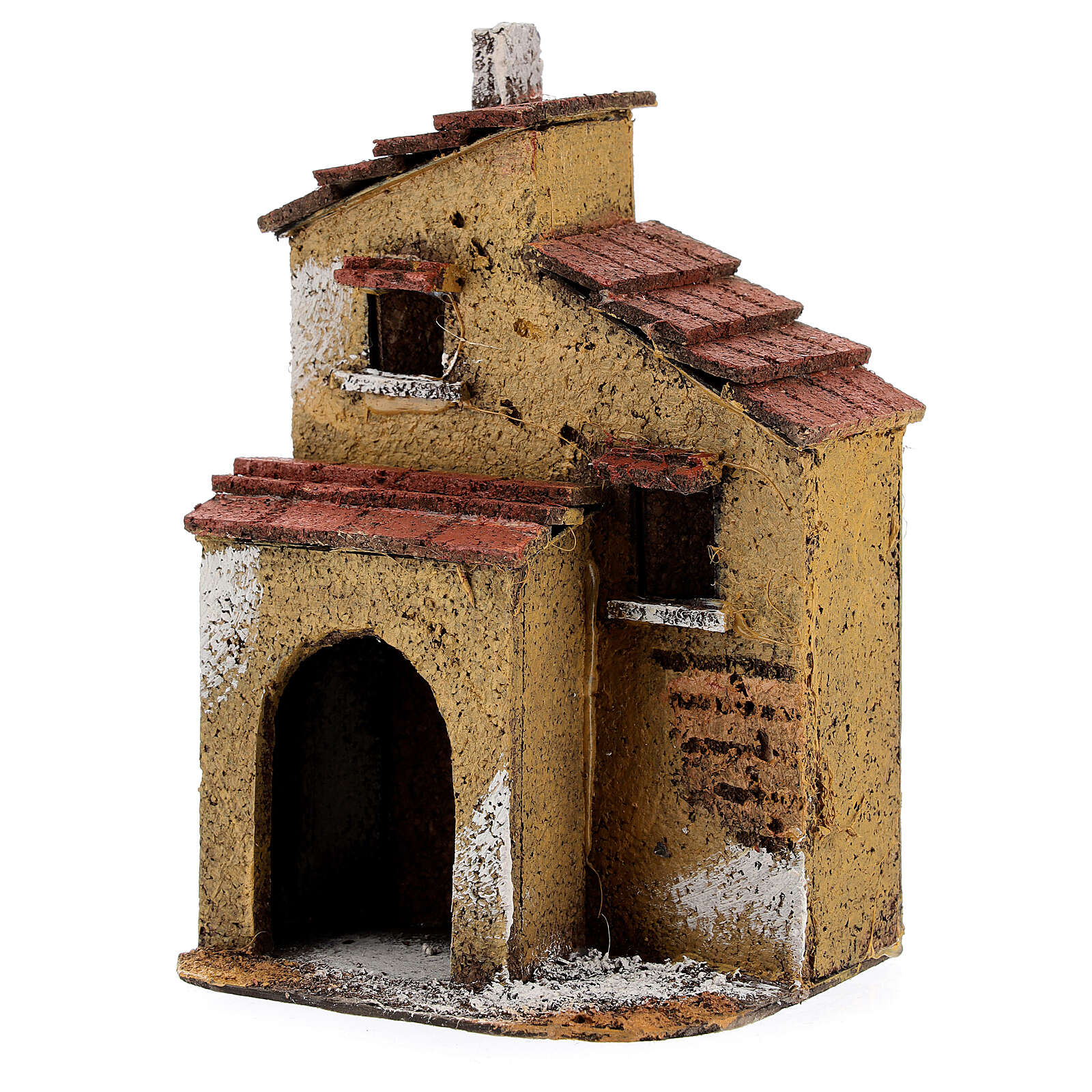 Casa de cortiça com muros cor ocre para presépio napolitano com figuras altura média 4 cm, medidas: 15,5x9,5x8 cm 4