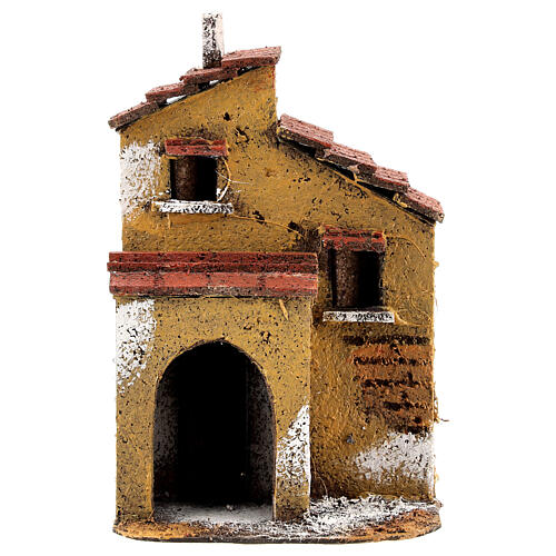 Cork ochre little house for Nativity Scene with 4 cm figurines 15x10x10 cm 1
