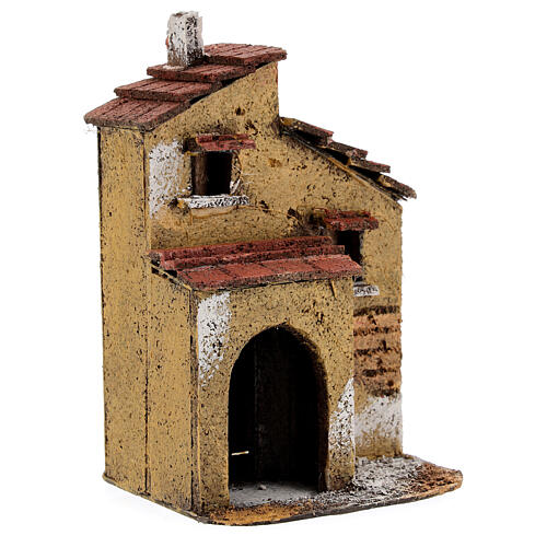 Cork ochre little house for Nativity Scene with 4 cm figurines 15x10x10 cm 2