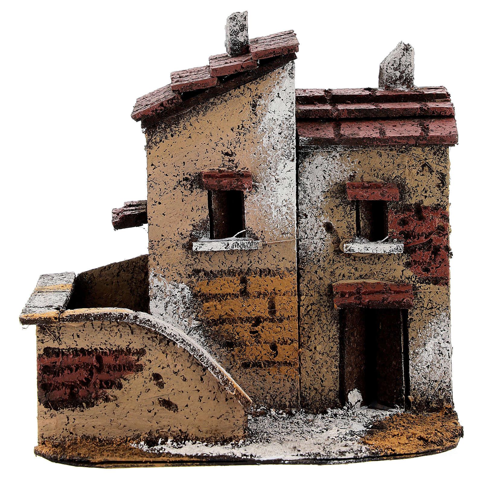 Couple maisons miniature liège 15x15x10 cm crèche napolitaine 3 cm 4