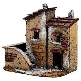 Couple maisons miniature liège 15x15x10 cm crèche napolitaine 3 cm s2