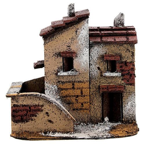 Couple maisons miniature liège 15x15x10 cm crèche napolitaine 3 cm 1