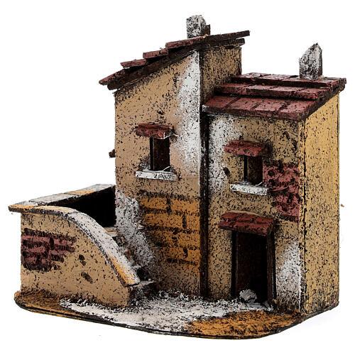Couple maisons miniature liège 15x15x10 cm crèche napolitaine 3 cm 2