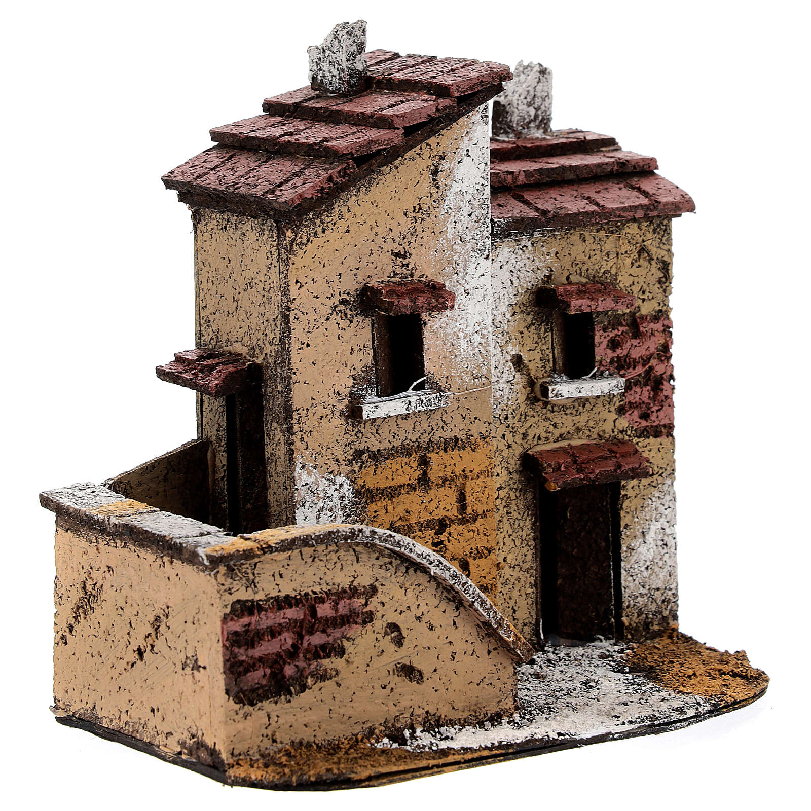Couple of miniature houses cork 15x15x10 cm Nativity Scene with 3 cm figurines 4