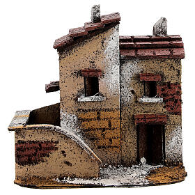 Couple of miniature houses cork 15x15x10 cm Nativity Scene with 3 cm figurines s1