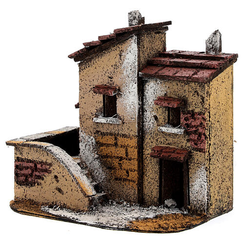 Couple of miniature houses cork 15x15x10 cm Nativity Scene with 3 cm figurines 2