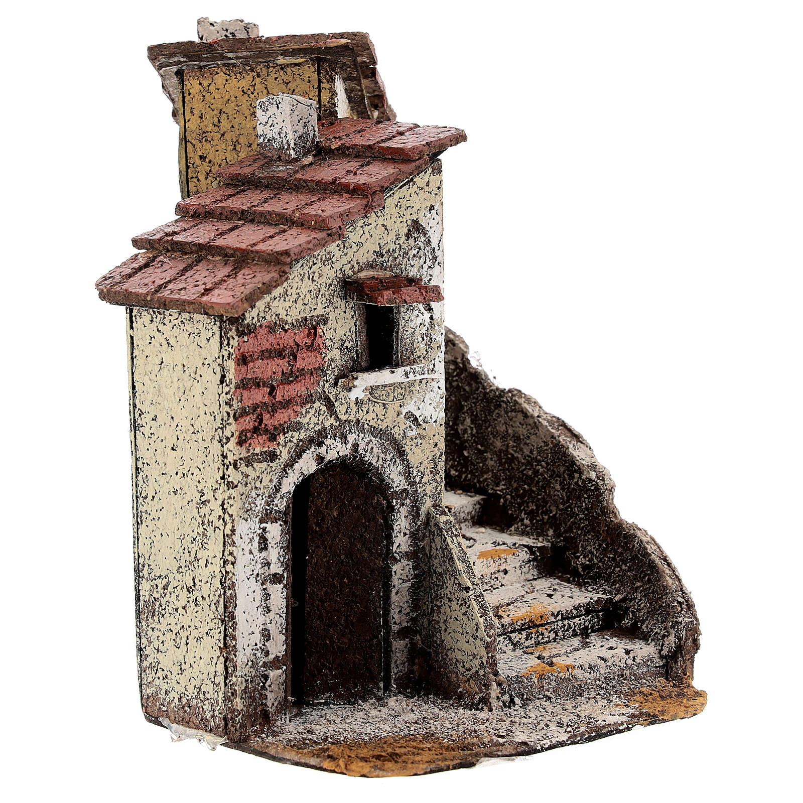 Neapolitan Nativity scene house in cork 15x10x15 cm for statues 4 cm 4