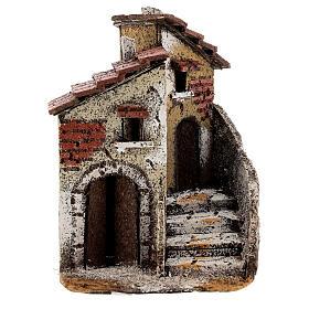 Neapolitan Nativity scene house in cork 15x10x15 cm for statues 4 cm s1