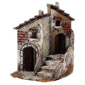Neapolitan Nativity scene house in cork 15x10x15 cm for statues 4 cm s2