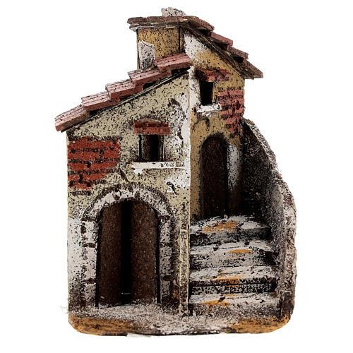 Neapolitan Nativity scene house in cork 15x10x15 cm for statues 4 cm 1