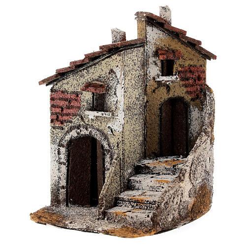 Neapolitan Nativity scene house in cork 15x10x15 cm for statues 4 cm 2