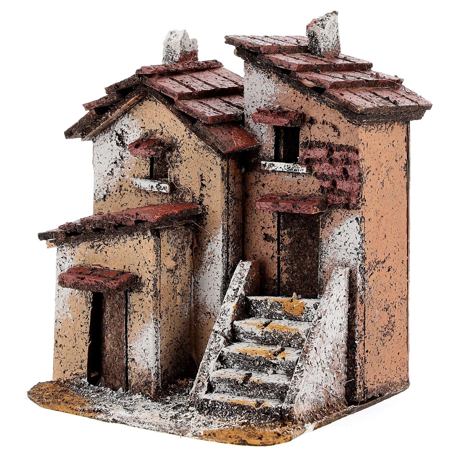 Couple maisons liège crèche napolitaine 15x10x10 cm pour santons 3 cm 4