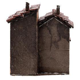 Couple maisons liège crèche napolitaine 15x10x10 cm pour santons 3 cm s4