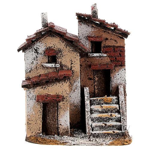Couple maisons liège crèche napolitaine 15x10x10 cm pour santons 3 cm 1