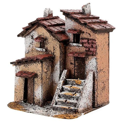 Couple maisons liège crèche napolitaine 15x10x10 cm pour santons 3 cm 2