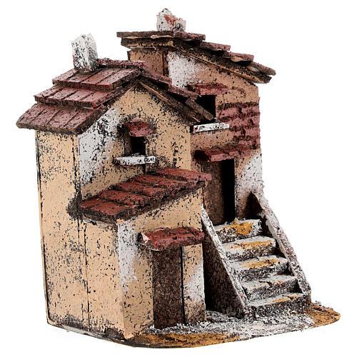 Couple maisons liège crèche napolitaine 15x10x10 cm pour santons 3 cm 3