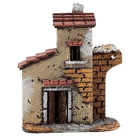 Cork house with ruined arch for Neapolitan Nativity Scene with 4-6 cm figurines 15x15x5 cm s1