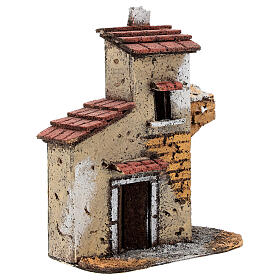 Cork house with ruined arch for Neapolitan Nativity Scene with 4-6 cm figurines 15x15x5 cm s2