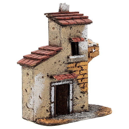 Cork house with ruined arch for Neapolitan Nativity Scene with 4-6 cm figurines 15x15x5 cm 2