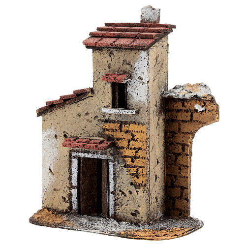 Cork house with ruined arch for Neapolitan Nativity Scene with 4-6 cm figurines 15x15x5 cm 3