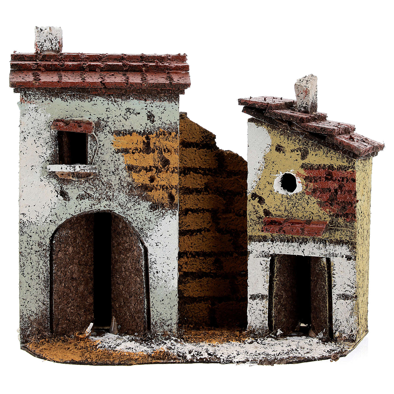 Miniature cork houses Neapolitan Nativity scene 15x15x5 for statues 4 cm 4