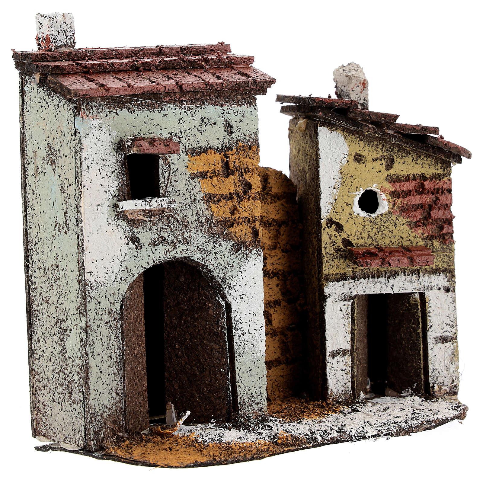 Case muro sughero miniatura presepe napoletano 15x15x5 per statue 4 cm 4
