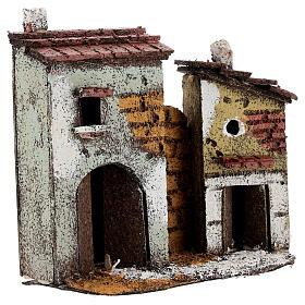 Case muro sughero miniatura presepe napoletano 15x15x5 per statue 4 cm s3