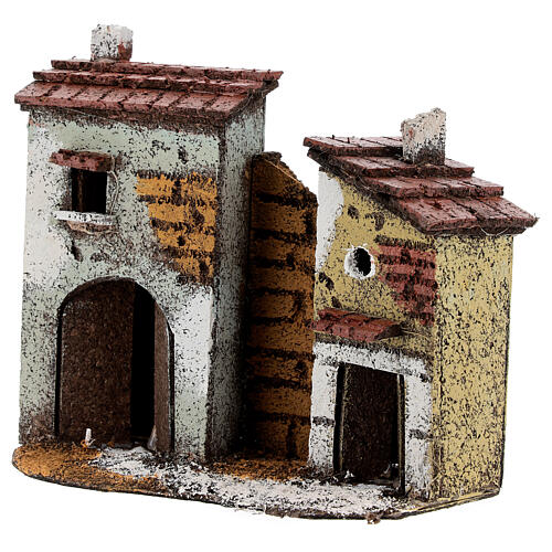 Case muro sughero miniatura presepe napoletano 15x15x5 per statue 4 cm 2
