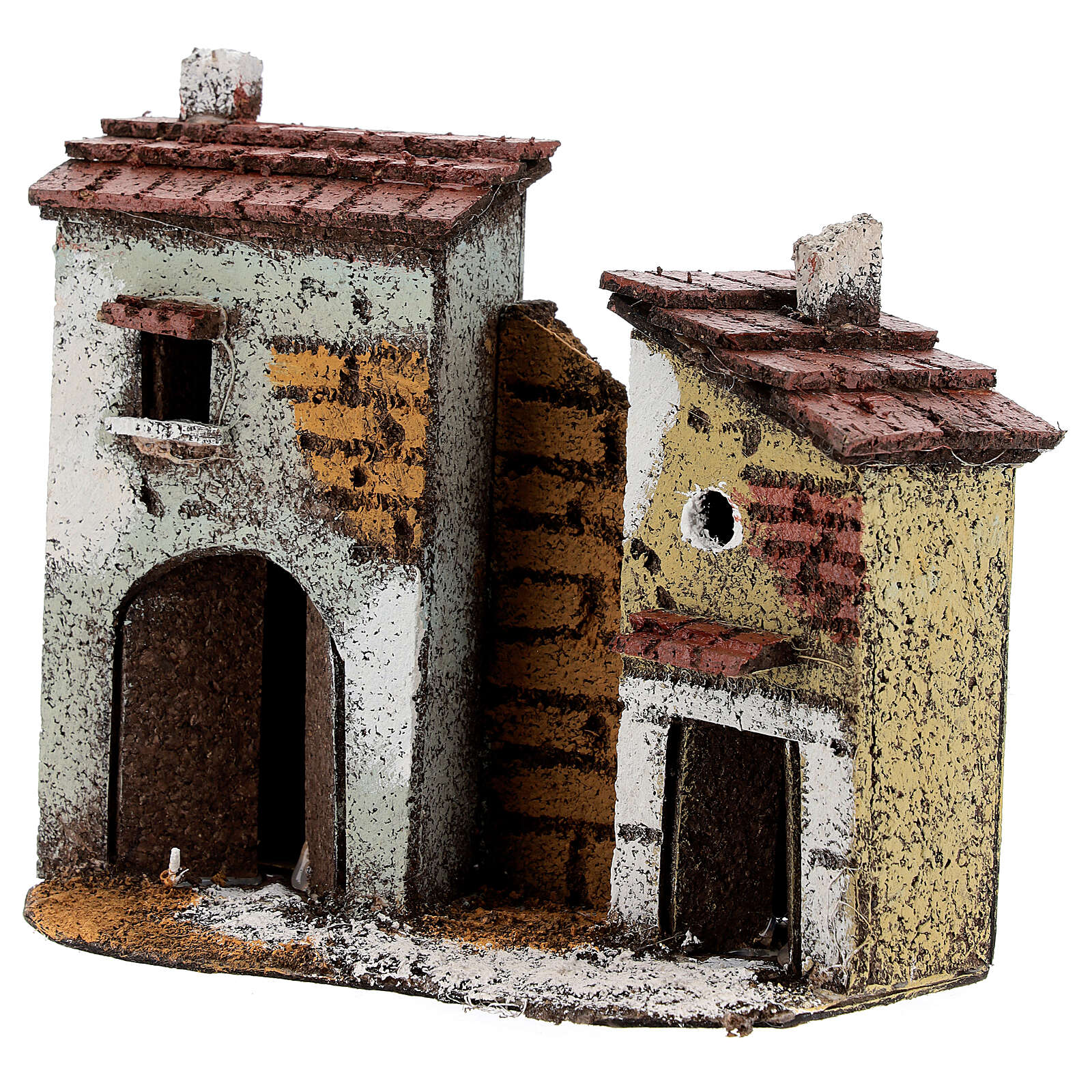 Miniature houses with cork walls Neapolitan Nativity Scene for 4 cm figurines 15x15x5 cm 4
