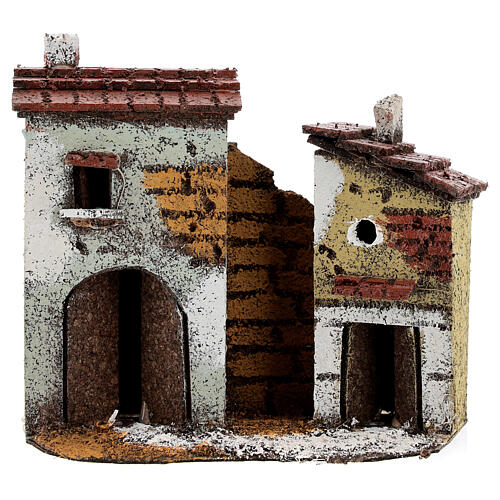 Miniature houses with cork walls Neapolitan Nativity Scene for 4 cm figurines 15x15x5 cm 1