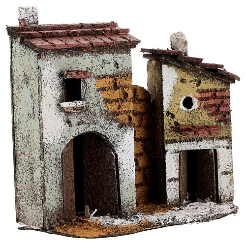 Miniature houses with cork walls Neapolitan Nativity Scene for 4 cm figurines 15x15x5 cm 3