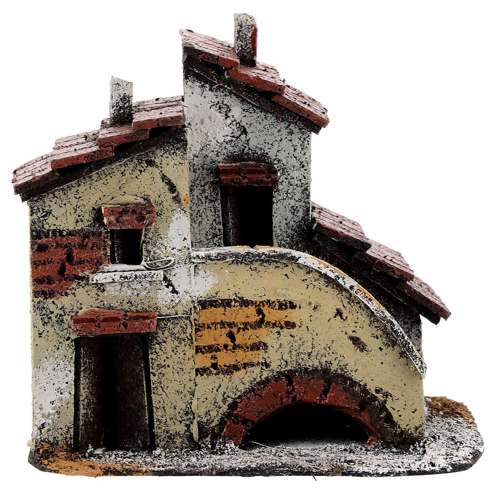 Maison miniature crèche napolitaine escalier 15x15x10 cm pour santons 3 cm 4