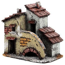 Casa em miniatura escada, telhado e chaminés para presépio napolitano com figuras altura média 3 cm, medidas: 13,5x14x9 cm s2