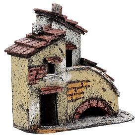 Casa em miniatura escada, telhado e chaminés para presépio napolitano com figuras altura média 3 cm, medidas: 13,5x14x9 cm s3