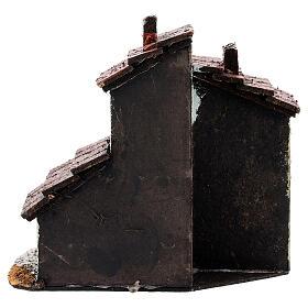 Casa em miniatura escada, telhado e chaminés para presépio napolitano com figuras altura média 3 cm, medidas: 13,5x14x9 cm s4