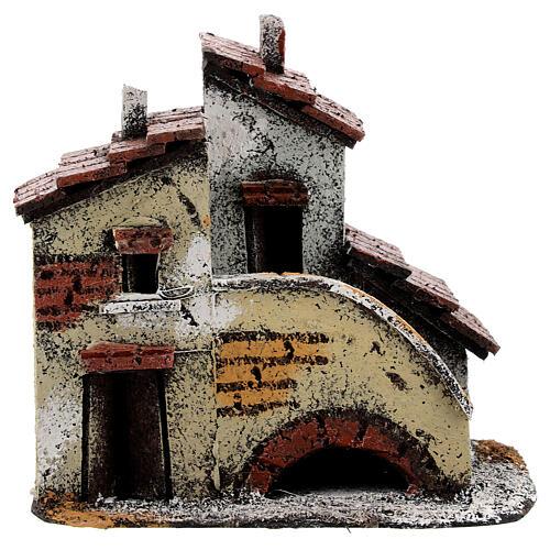 Casa em miniatura escada, telhado e chaminés para presépio napolitano com figuras altura média 3 cm, medidas: 13,5x14x9 cm 1